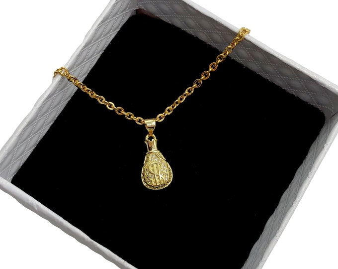 MONEY BAGS: gold pave money necklace