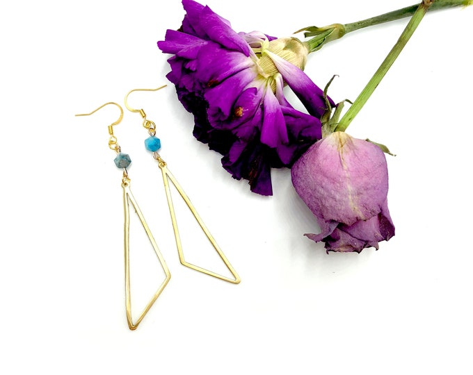 ISABELLA: blue agate geometric drop earrings