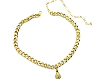 MONEY BAGS: gold thick chain money choker