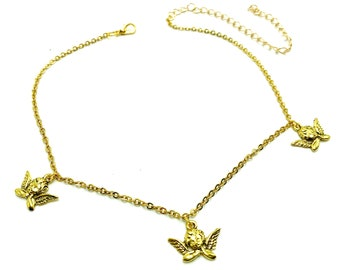 SERAPH: gold triple angel choker