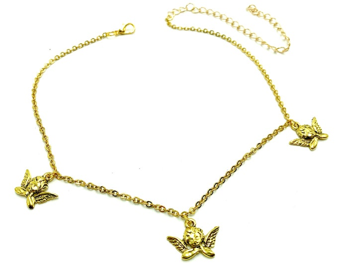 SERAPH: gold triple angel choker