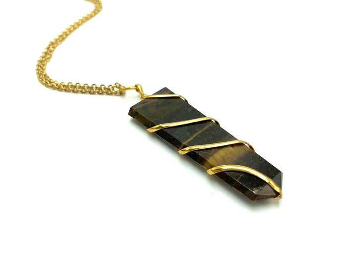 TIGER'S EYE: flat wire wrapped crystal points