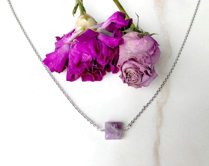Support Domestic Violence Victims: stainless steel amethyst necklace