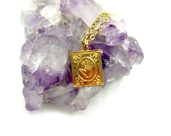 TAROT: simple gold tarot card palmistry necklace