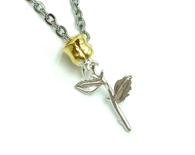 GOLD DIPPED: tiny 925 sterling silver rose necklace