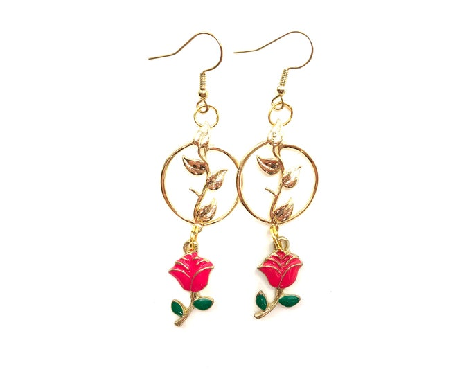 PIA: gold pink rose drop earrings
