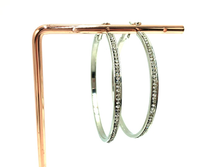 GLAM: large rhinestone hoop earrings