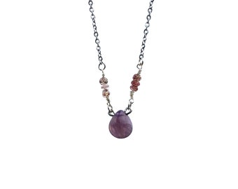 TATIANA: delicate amethyst and lodolite necklace