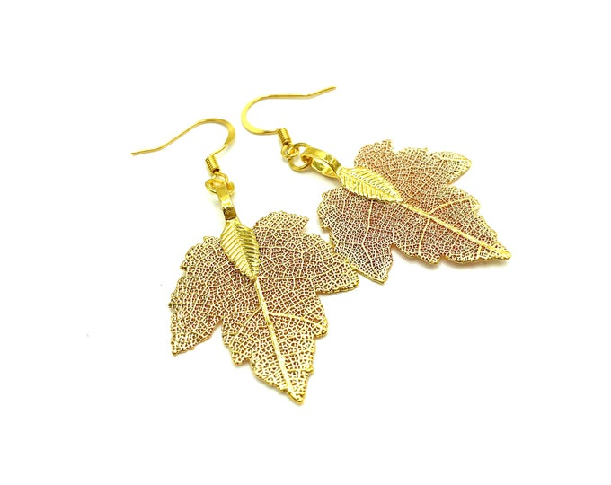 MAPLE: gold filagree maple leaf earrings