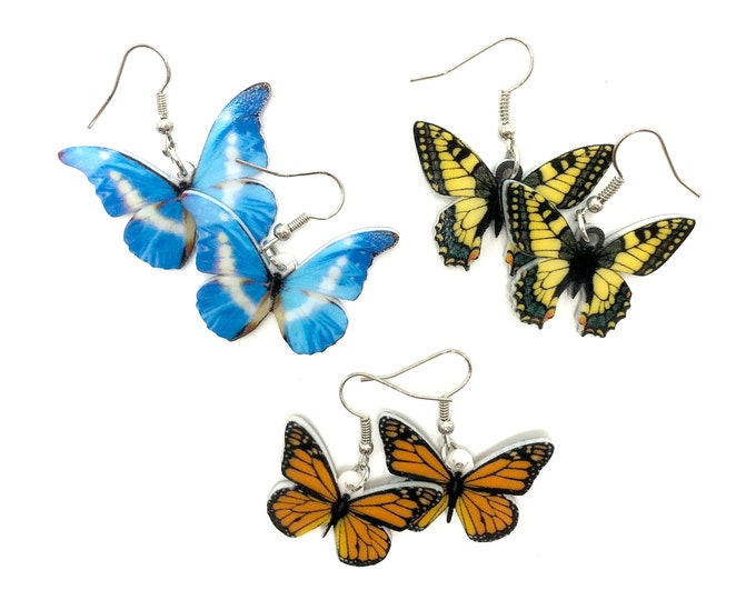 BUTTERFLY: acrylic butterfly earrings in multiple designs