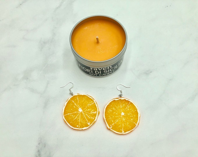 CREAMSICLE: large statement orange slice earrings