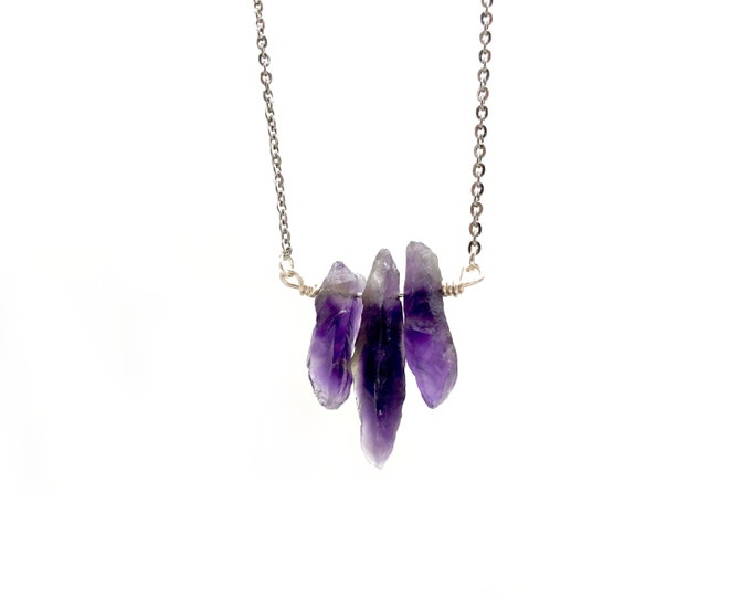 YARA: raw amethyst crystal necklace