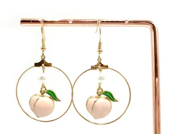 PEACHES AND CREAM: peach and faux pearl drop earrings