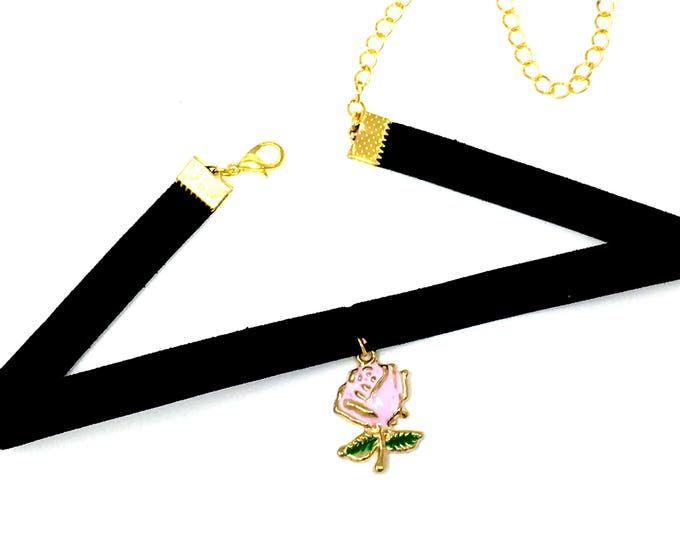 ROSÉ: pink rose on black velvet elastic choker