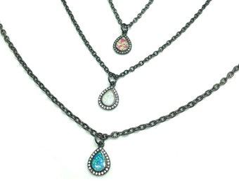 SABRINA: gunmetal simulated opal necklaces