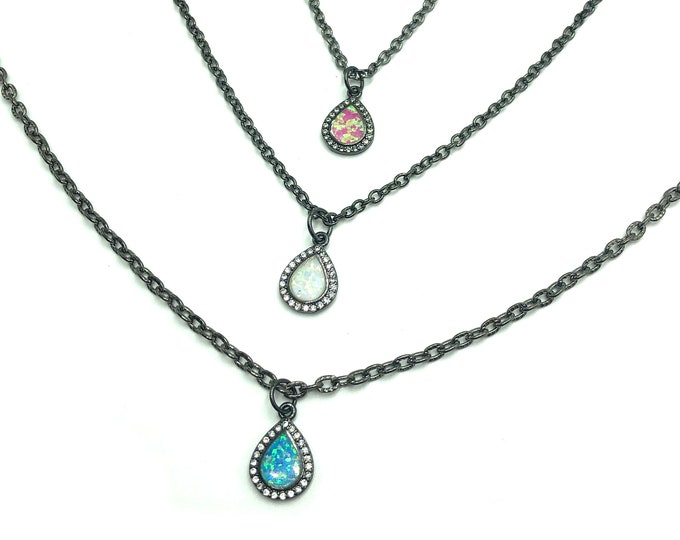 SABRINA: gunmetal simulated opal necklaces