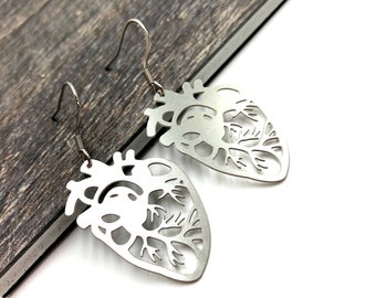 ANATOMY: stainless steel anatomically correct heart earrings
