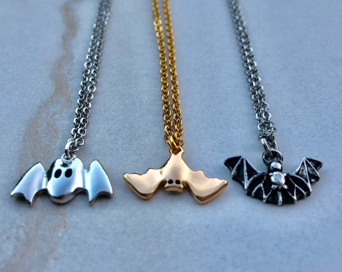 GONE BATTY: bat necklaces in multiple styles