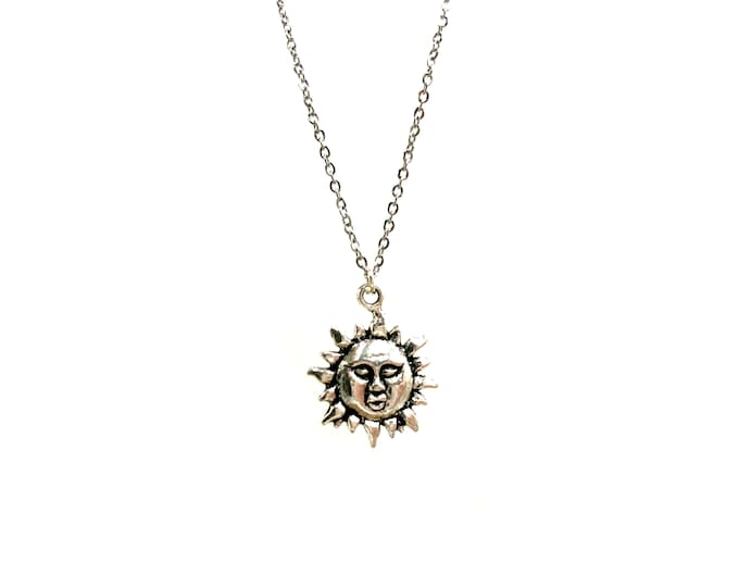 UV: sun face stainless steel necklace