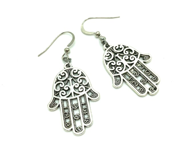 HAMSA: intricate silver earrings