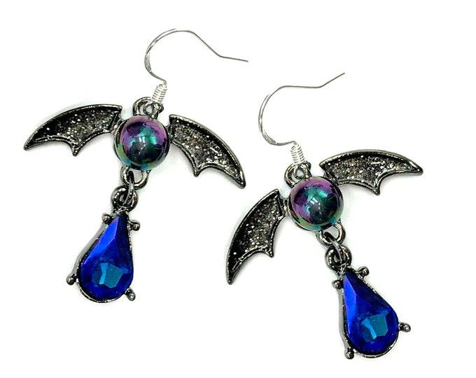 CLAUDIA: gothic dangly bat earrings