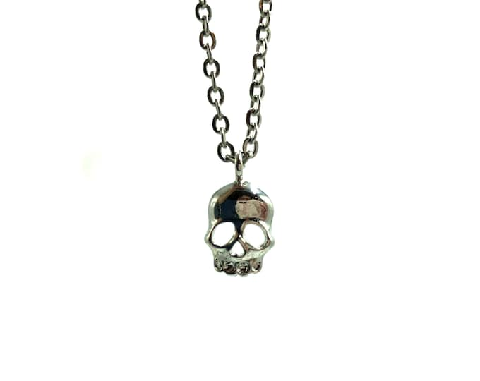 TINY SKULL: delicate stainless steel skull necklace