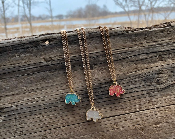 ELLA: synthetic opal elephant necklace
