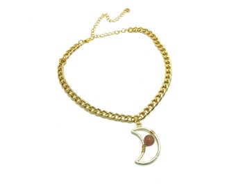 SUNSTONE MOON: gold thick chain choker with hollow moon and sunstone bead
