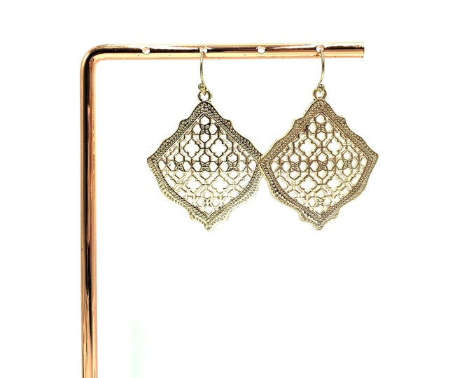 ALICIA: rose gold filigree earrings