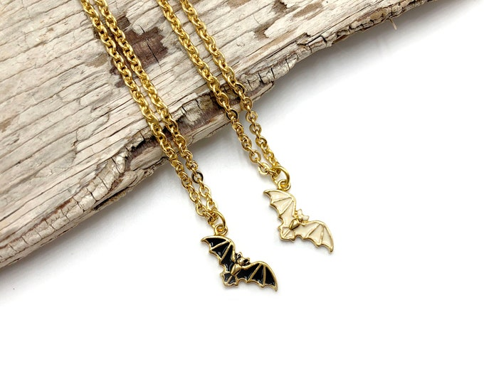 HECATE: black and white delicate bat necklaces