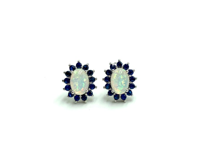 BRIA: simulated opal and blue zirconia stud earrings