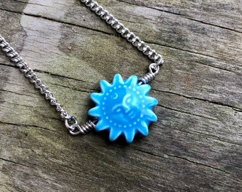 BLUE SUN: ceramic bead chain choker