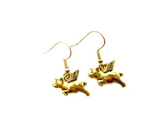 PIGS FLY: adorable gold tone pig earrings