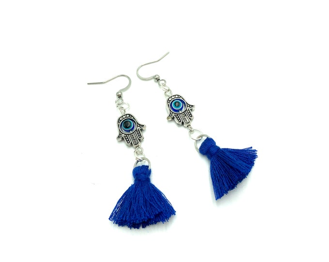 BLUE HAMSA: hamsa and evil eye tassel earrings