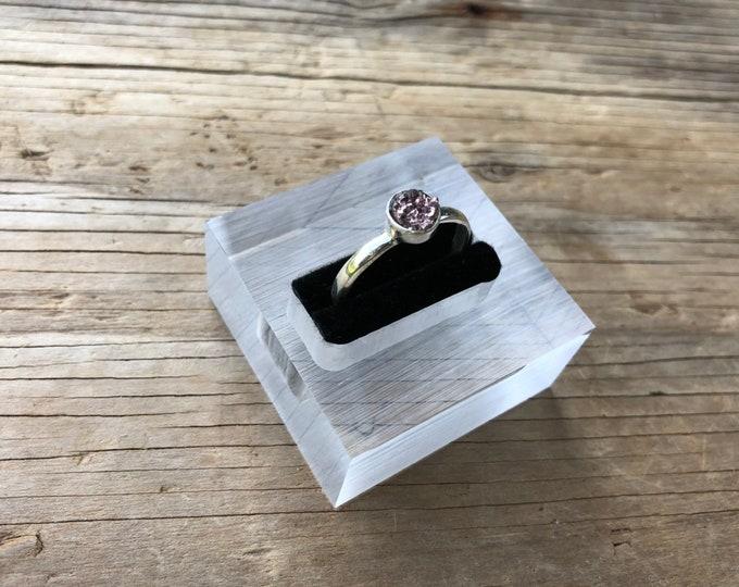 JASLYN: 925 sterling silver purple simulated druzy ring