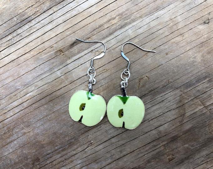 GRANNY SMITH: green apple drop earrings