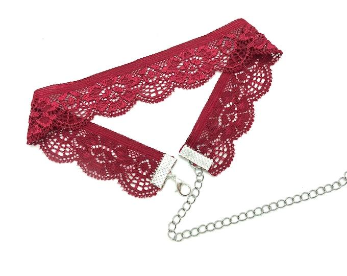 ERIKA: red wine stretch lace choker