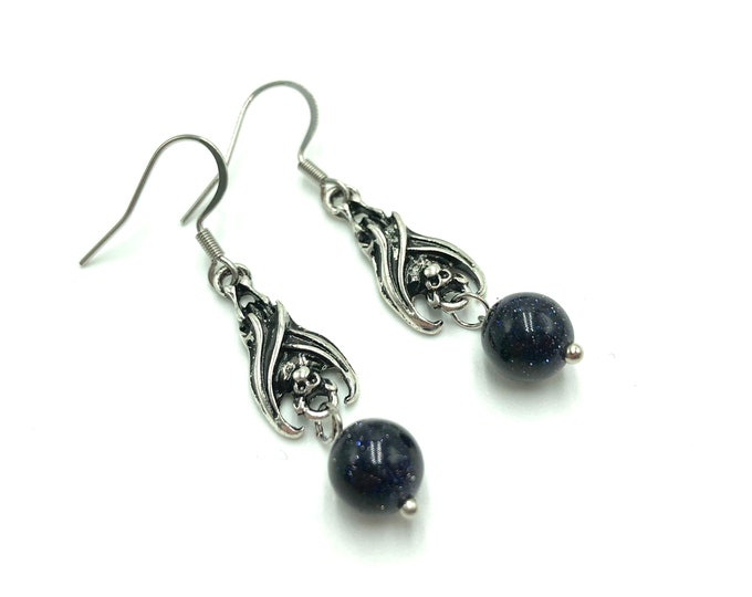 BATTY: bat earrings with blue goldstone accent