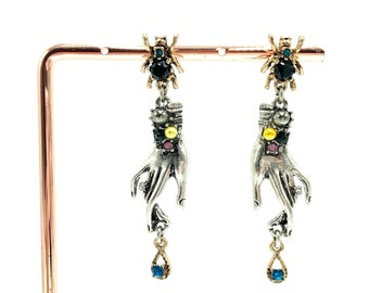 MINERVA: witchy spider hand drop earrings