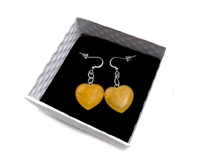 SUNSHINE: golden quartz heart earrings