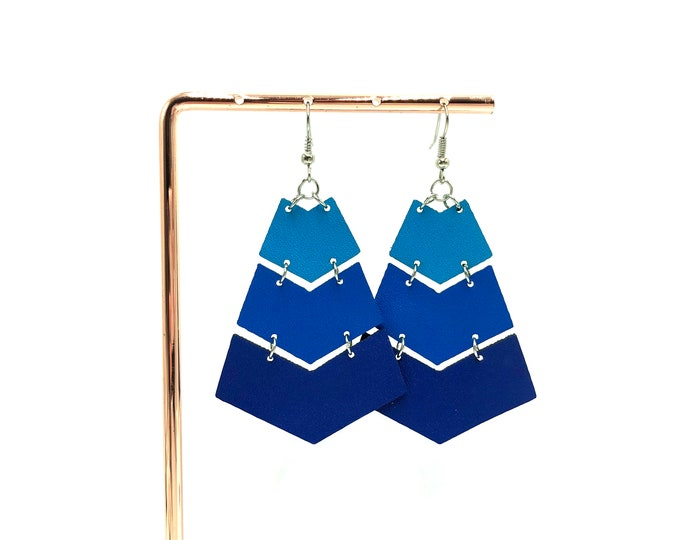 CLARISE: faux leather chevron earrings