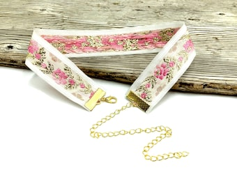 ANCHITA: pink and gold sparkle jacquard choker