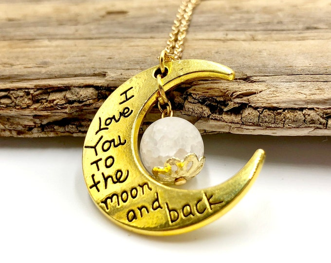 TO THE MOON: white crackle quartz necklace