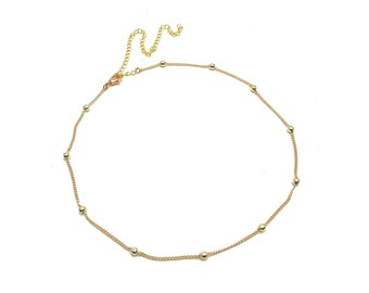 FREDDY: dainty rose gold ball chain choker