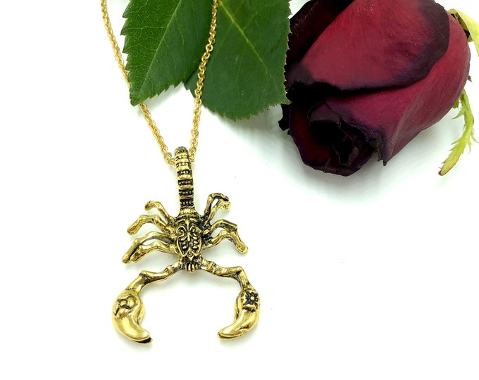 SCORPION: large intricate scorpion necklace