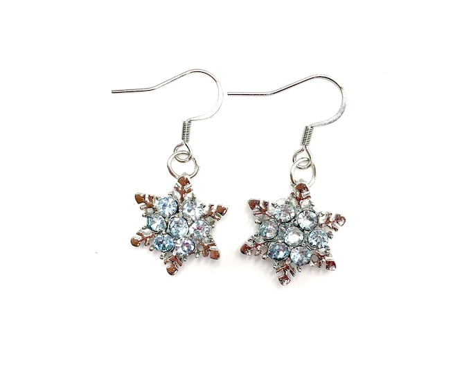 SNOWFLAKE: glitzy snowflake drop earrings