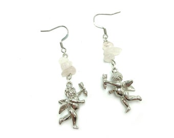 CHERUB: rose quartz and silver cherub earrings