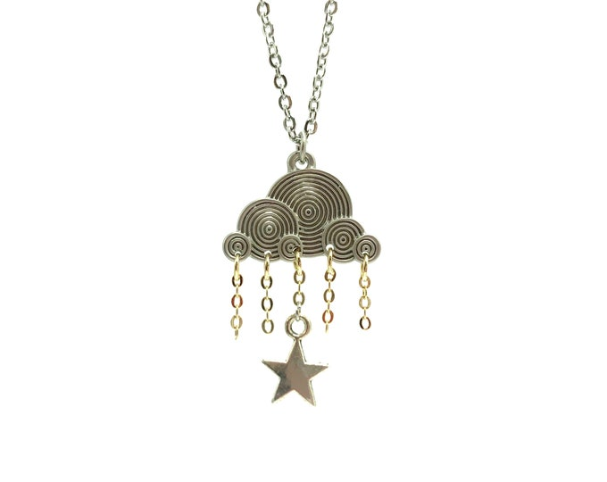WINDSTORM: two toned cloud and star necklace