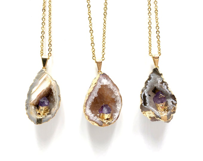 MAGDALENE: gold plated geode pendant with amethyst accent