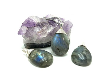 LABRADORITE: simple wire wrapped teardrop pendants
